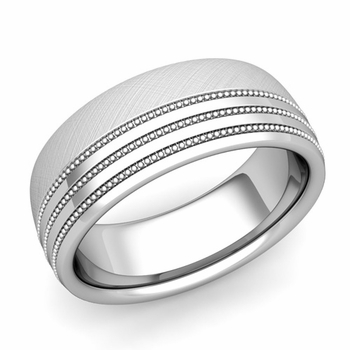 Milgrain Dome Wedding Ring in Platinum Comfort Fit Band, Mixed Brushed Finish, 8mm