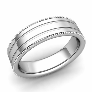 Milgrain and Groove Wedding Ring in Platinum Comfort Fit Band, Polished Finish, 6mm