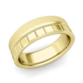 Milgrain and Brick Wedding Ring in 18k Gold Comfort Fit Band, Mixed Brushed Finish, 7mm