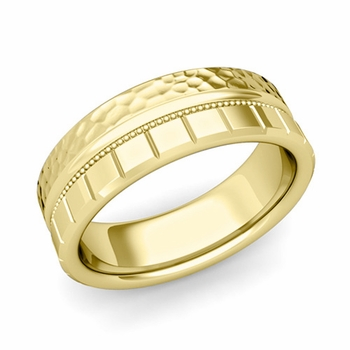 Milgrain and Brick Wedding Ring in 18k Gold Comfort Fit Band, Hammered Finish, 7mm