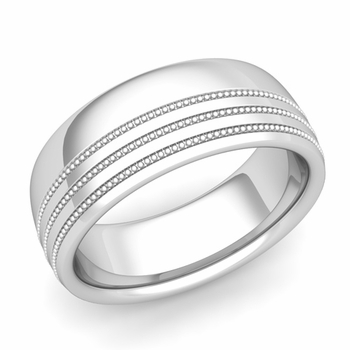 Milgrain Dome Wedding Ring in Platinum Comfort Fit Band, Polished Finish, 8mm