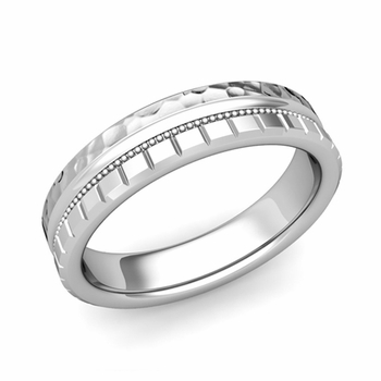 Milgrain and Brick Wedding Ring in 14k Gold Comfort Fit Band, Hammered Finish, 5mm