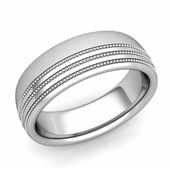 Milgrain Dome Wedding Ring in 14k Gold Comfort Fit Band, Satin Finish, 7mm