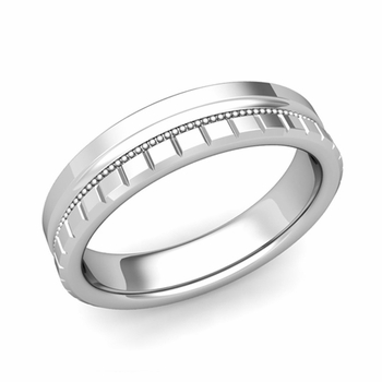 Milgrain and Brick Wedding Ring in 18k Gold Comfort Fit Band, Polished Finish, 5mm