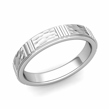 Geometric Wedding Band in 14k Gold Hammered Finish Ring, 4mm