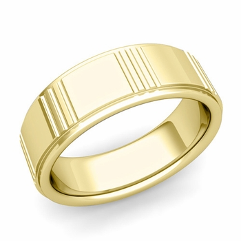 Geometric Wedding Band in 18k Gold Polished Finish Ring, 8mm