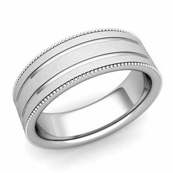 Milgrain and Groove Wedding Ring in Platinum Comfort Fit Band, Mixed Brushed Finish, 7mm