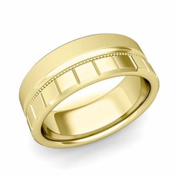 Milgrain and Brick Wedding Ring in 18k Gold Comfort Fit Band, Satin Finish, 8mm
