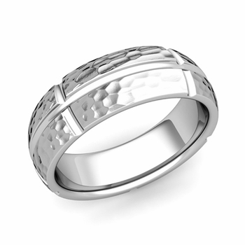 Brick Comfort Fit Wedding Band Ring in Platinum, Hammered Finish, 7mm
