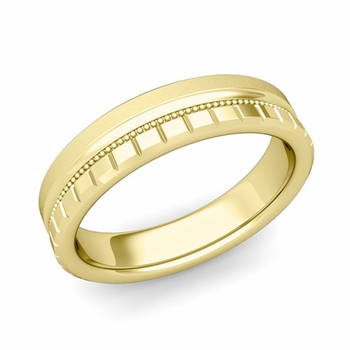 Milgrain and Brick Wedding Ring in 18k Gold Comfort Fit Band, Satin Finish, 5mm