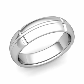 Brick Comfort Fit Wedding Band Ring in Platinum, Polished Finish, 6mm