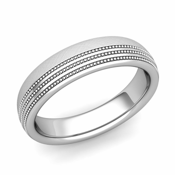 Milgrain Dome Wedding Ring in Platinum Comfort Fit Band, Mixed Brushed Finish, 5mm