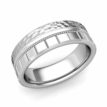 Milgrain and Brick Wedding Ring in 14k Gold Comfort Fit Band, Hammered Finish, 7mm