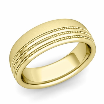 Milgrain Dome Wedding Ring in 18k Gold Comfort Fit Band, Satin Finish, 7mm