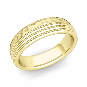 Milgrain Dome Wedding Ring in 18k Gold Comfort Fit Band, Hammered Finish, 6mm