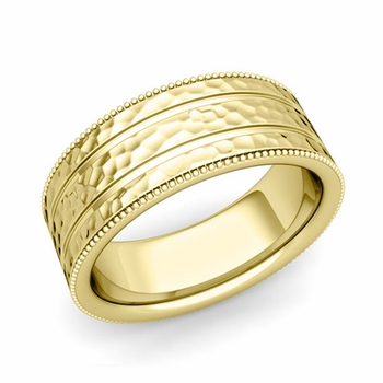Milgrain and Groove Wedding Ring in 18k Gold Comfort Fit Band, Hammered Finish, 8mm