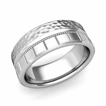 Milgrain and Brick Wedding Ring in 14k Gold Comfort Fit Band, Hammered Finish, 8mm