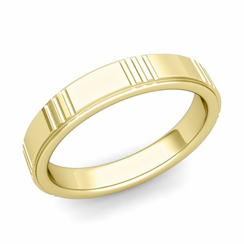 Geometric Wedding Band in 18k Gold Polished Finish Ring, 4mm
