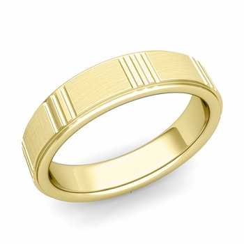 Geometric Wedding Band in 18k Gold Mixed Brushed Finish Ring, 5mm