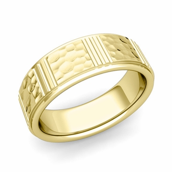 Geometric Wedding Band in 18k Gold Hammered Finish Ring, 7mm