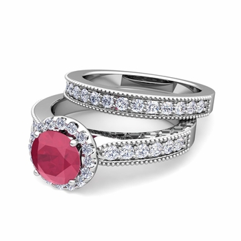 Halo Bridal Set: Milgrain Diamond and Ruby Engagement Wedding Ring Set in Platinum, 5mm
