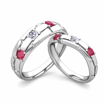 Matching Wedding Band: His and Hers Diamond and Ruby Wedding Band in Platinum