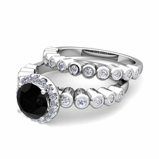 Halo Bridal Set: Bezel Black and White Diamond Engagement Wedding Ring in 14k Gold, 5mm