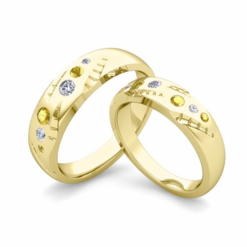 Matching Wedding Ring Set: Flush Set Diamond and Yellow Sapphire Ring in 18k Gold