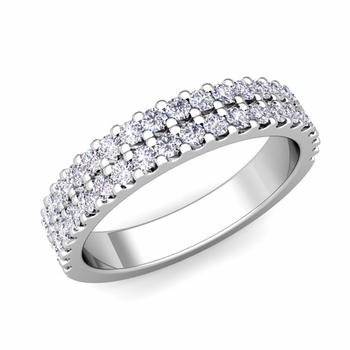 Two Row Diamond Wedding Ring Band in Platinum