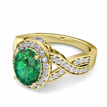 Infinity Diamond and Emerald Engagement Ring in 18k Gold, 7x5mm