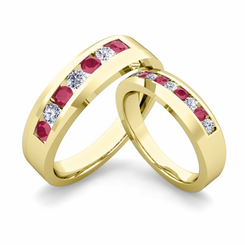 His and Hers Matching Wedding Band in 18k Gold Channel Set Diamond and Ruby Ring
