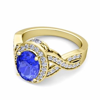 Infinity Diamond and Ceylon Sapphire Engagement Ring in 18k Gold, 7x5mm