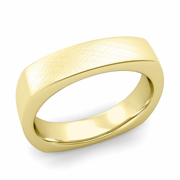 Square Comfort Fit Wedding Ring in 18K Gold Mixed Brushed Band, 5mm