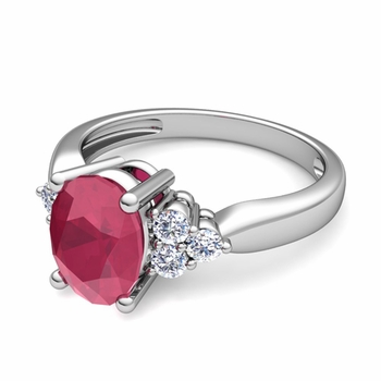 Three Stone Diamond and Ruby Engagement Ring in Platinum, 7x5mm