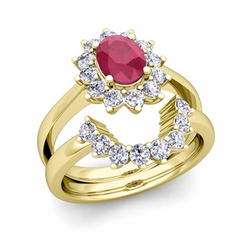 Diamond and Ruby Diana Engagement Ring Bridal Set in 18k Gold, 9x7mm
