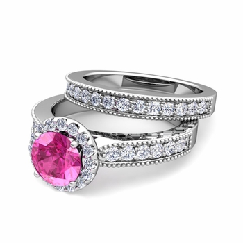 Halo Bridal Set: Milgrain Diamond and Pink Sapphire Wedding Ring Set in 14k Gold, 7mm