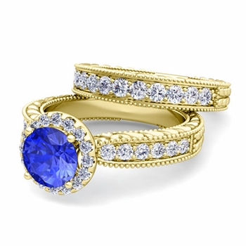 Vintage Inspired Diamond and Ceylon Sapphire Engagement Ring Bridal Set in 18k Gold, 7mm