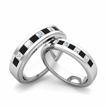 Matching Wedding Band in Platinum Princess Cut Black and White Diamond Ring