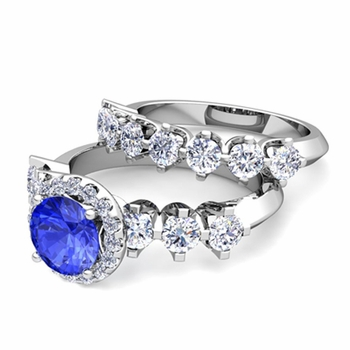 Bridal Set of Crown Set Diamond and Ceylon Sapphire Engagement Wedding Ring in Platinum, 7mm