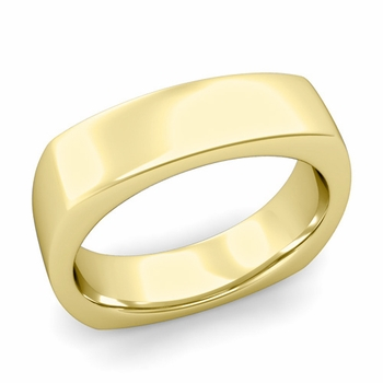 Square Comfort Fit Wedding Ring in 18K Gold Polished Band, 6mm