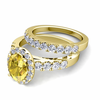 Halo Bridal Set: Pave Diamond and Yellow Sapphire Wedding Ring Set in 18k Gold, 8x6mm
