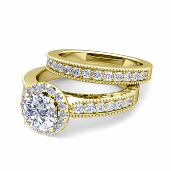 Halo Bridal Set: Milgrain Diamond Engagement Wedding Ring Set in 18k Gold