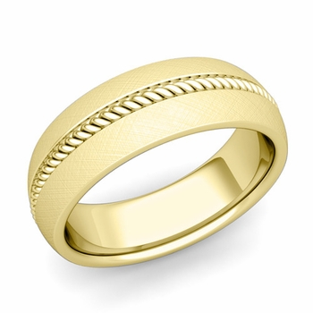 Cable Comfort Fit Wedding Band Ring in 18k Gold, Mixed Brushed Finish, 7mm