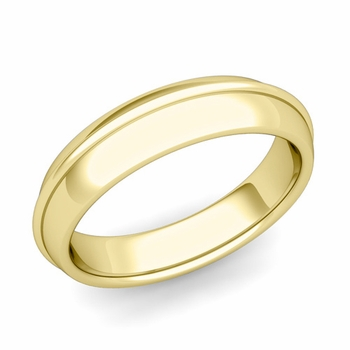 Circle Comfort Fit Wedding Band Ring in 18k Gold, Polished Finish, 5mm
