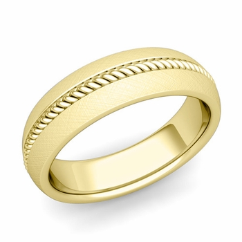 Cable Comfort Fit Wedding Band Ring in 18k Gold, Mixed Brushed Finish, 6mm