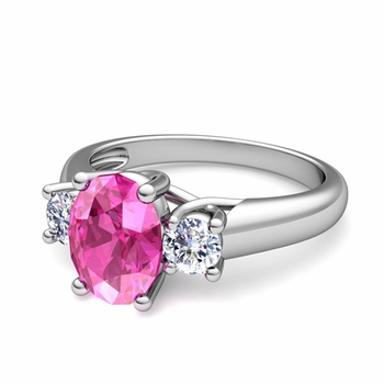Classic Diamond and Pink Sapphire Three Stone Ring in Platinum, 7x5mm