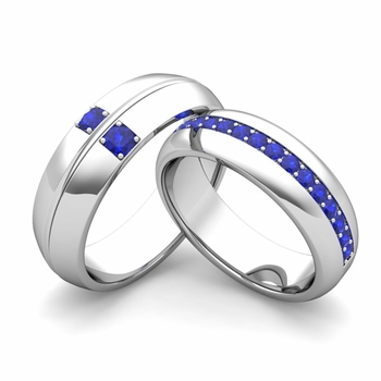 Matching Wedding Ring Set: Sapphire Comfort Fit Wedding Band in 14k Gold
