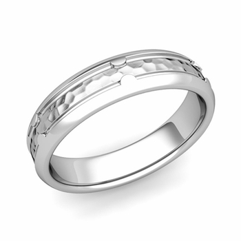Unique Comfort Fit Wedding Band in Platinum Hammered Finish Ring, 5mm