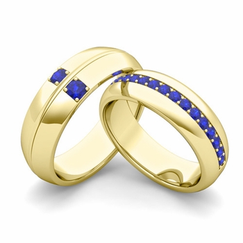 Matching Wedding Ring Set: Sapphire Comfort Fit Wedding Band in 18k Gold