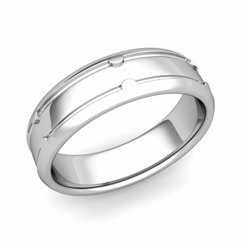 Unique Comfort Fit Wedding Band in Platinum Polished Finish Ring, 6mm